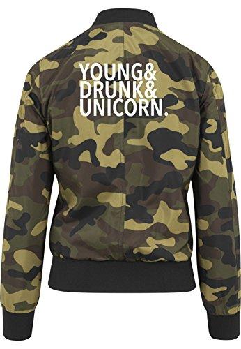 Young Drunk Unicorn Bomberjacke Girls Camouflage Certified Freak-L