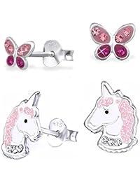 GH* 2 PAAR Kristall Einhorn + Schmetterling Ohrstecker 925 Echt Silber Mädchen Kinder Pferde Ohrringe