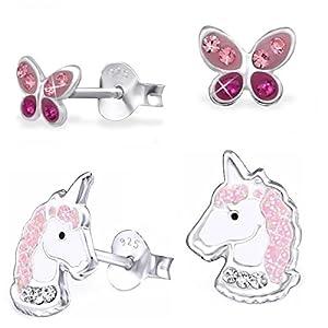 2 Paar Kristall Einhorn + Schmetterling Ohrstecker 925 Echt Silber Mädchen Kinder Pferde Ohrringe