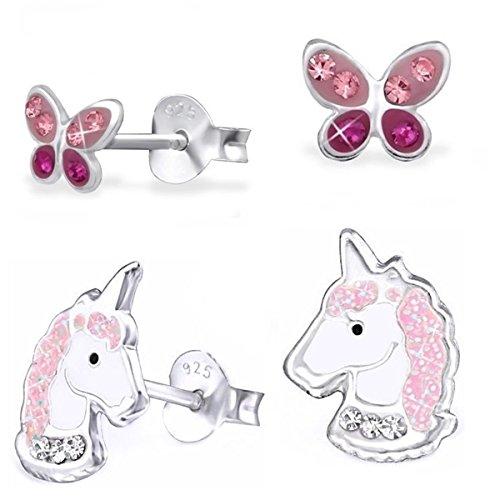 Silber Baby-mädchen (GH* 2 PAAR Kristall Einhorn + Schmetterling Ohrstecker 925 Echt Silber Mädchen Kinder Pferde Ohrringe)