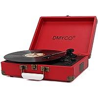 Tocadiscos Retro, DMYCO Tocadiscos Estéreo 3 33/45/78 Velocidades con Altavoces Incorporados Salida USB PC Digitalizador Vinilos, Codificador a MP3, Entrada Linea AUX, Carcasa Protectora, Rojo
