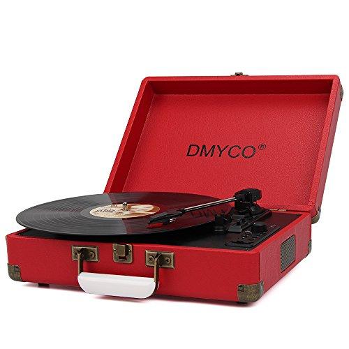 Schallplattenspieler | Plattenspieler | Riemenantrieb | Stereo-Lautsprecher | USB-Anschluss zum Digitalisieren | Retro-Design | Tragegriff | Turntable mit eingebauten Stereo Lautsprechern, rot
