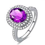 KnSam Ring 925 Silber Damen Trauringe Echt Amethyst Antragsring Hochzeitsringe Geschenk für Frauen Mutter Gr.52 (16.6) Modeschmuck