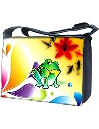 """Luxburg Design sac bandoulière pour ordinateur portable 15""""avec sangle d'épaule–Grenouille et fleurs"""