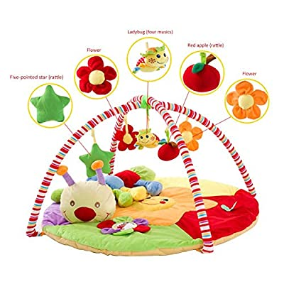 Lamptti Baby Crawling Mat with Baby Fitness Rack, Baby Play Mat & Gym, Baby Game Blanket Play Mat with Caterpillar Doll and Puzzle Toy