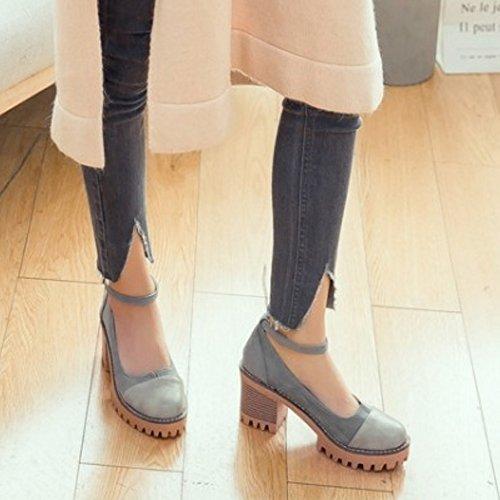 COOLCEPT Femmes Mode Cheville Court Chaussures Bout Ferme Bloc Escarpins Chaussures Gris