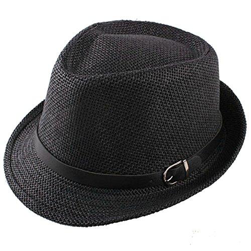 Butterme Cappello di paglia Moda estate cappello di Sun Beach Cappello Streetstyle cappello di jazz per l'adulto Uomini / Donne (Nero)