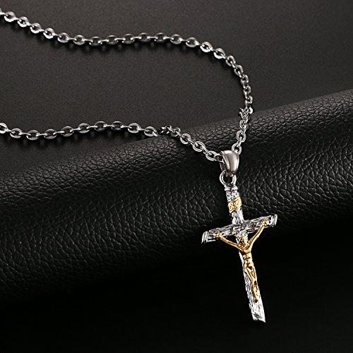 Edelstahl Herren Kreuz Anhänger Jesus Christus Halskette für Männer gold silber , OIDEA vintage Anhänger mit 55cm Königskette Kette - 3