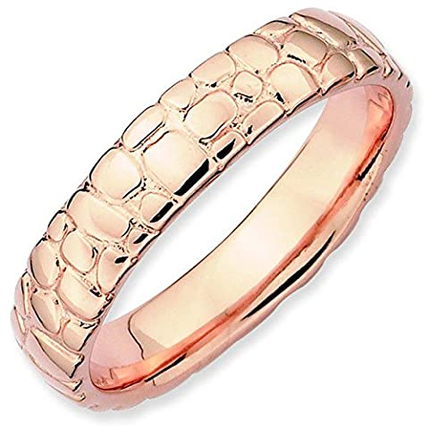 Stackable Expressions Size 5 - 4.5mm Cobblestone Thick Band 18K Rose Gold Plated Stackable Ring UK Ring Size -
