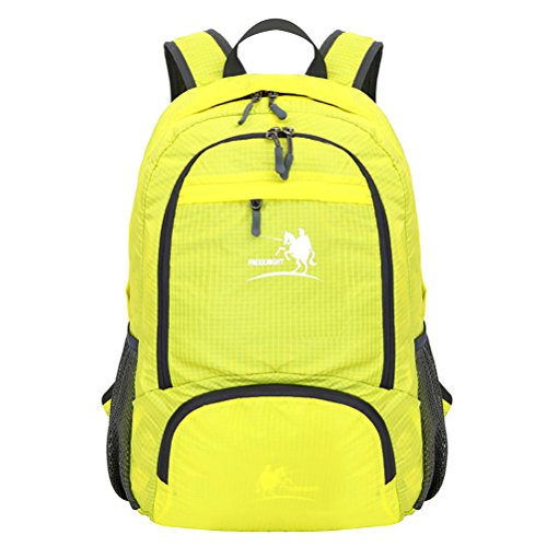 Free Knight Nuovo stile Outdoor Zaino impermeabile pieghevole arrampicata, escursionismo borsa casual 35L, Black Yellow