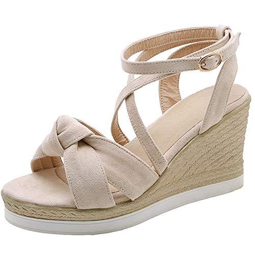 ELEEMEE Damen Süss Summer Schuhe Bow Keilabsatz Plateau Sandalen Knöchelriemchen Heels Party Schuhe peep Toe Beige Gr 34 Asian -