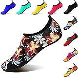VIFUUR Wassersport Schuhe Barfuß Quick-Dry Aqua Yoga Socken Slip-on für Männer Frauen Kinder Blumen Druck EU36/37