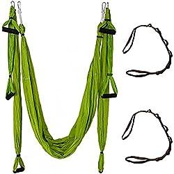 QUBABOBO Hamaca de Yoga Tafetán de Nailon Antigravedad Swing Sling Inversión para Pilates Gimnasia con 664lb Carga