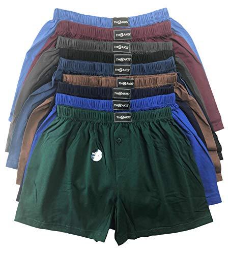 .bakis. 3/6/9/12 Stück Klassische Herren Boxershorts Unterhosen Unterwäsche mit Eingriff in Normalgröße und Übergröße in verschiedenen Unifarben Gr.5(S)-13(6XL) - 12 Stück - Gr. 13(6XL)
