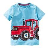 Zolimx Ropa de Bebé Niño Niñas Camisetas de Manga Corta Blusa de Camiseta de Impresión de Dibujos Animados Tractor (Azul, 4 años)