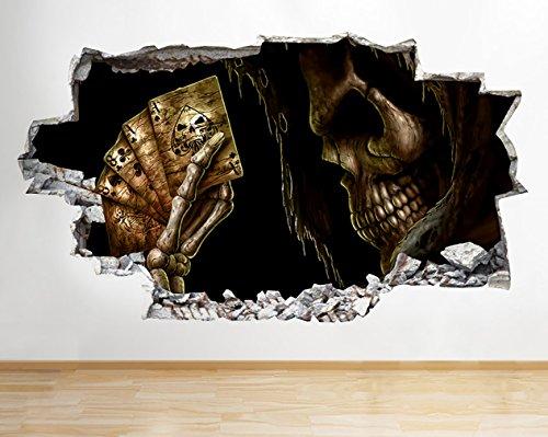 andlichtbirne Totenkopf Skelett Spielkarten zerstörten Wand Aufkleber 3D Kunst Aufkleber Vinyl Raum ()