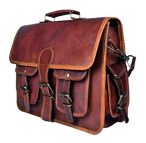 Sankalp Leather Echtes Ziegenleder Vintage Braune Umhängetasche Aktentasche Laptoptasche, Einheitsgröße, NEU, 100% echtes Leder mit Kostenlosem Versand, 2019 SALE- nur noch 2 TAGE