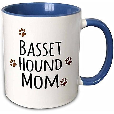 Mensuk Basset Hound Dog Mom - Doggie by breed - brown muddy paw prints - doggy lover - pet owner mama love - Two Tone Black Mug, 11oz (mug_154064_4), , Black/White