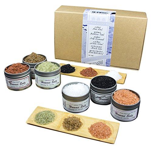 Geschenkset mit Hawaii Salz rot, grün, weiß, pink, schwarz, geräuchert und Bambusschalen*