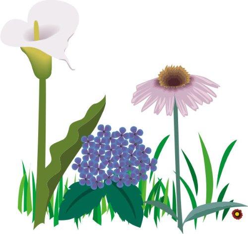 T-Shirt E071 Schönes T-Shirt mit farbigem Brustaufdruck - Logo / Comic - schönes Pflanzenmotiv / Natur / drei verschiedene Blumen Weiß