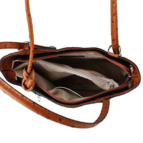 Frau Schultertasche Straußenmuster in echtem Leder Made in Italy Chicca Borse 28x30x9 Cm Grün - Tan