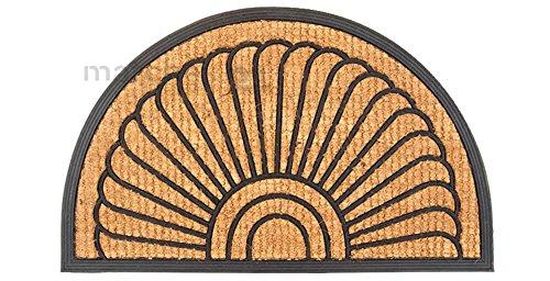 matches21 Fußmatte Fußabstreifer Kokos Muschel mit Gummirand 45x75x2,0 cm Rutschfest aufstehende Fasern