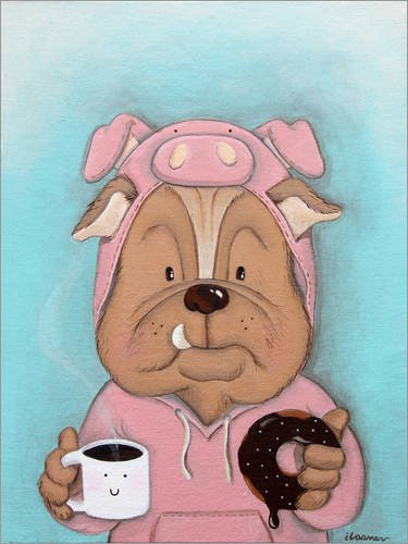 (Posterlounge Acrylglasbild 100 x 130 cm: Bulldogge im Schwein Kostüm von ilaamen Pelshaw - Wandbild, Acryl Glasbild, Druck auf Acryl Glas Bild)
