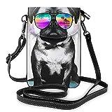 Summer Holiday Island Pug - Mini borsa a tracolla in pelle per cellulare da donna, per attività all'aperto, escursionismo, sport