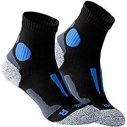 Vincent Creation VCA - Lot de 2 paires de chaussettes de course à pied - haute performance - rembourrée et élastiquée - pointe remaillée main