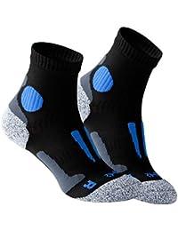VCA - Lot de 2 paires de chaussettes de course à pied - haute performance - rembourrée et élastiquée - pointe remaillée main