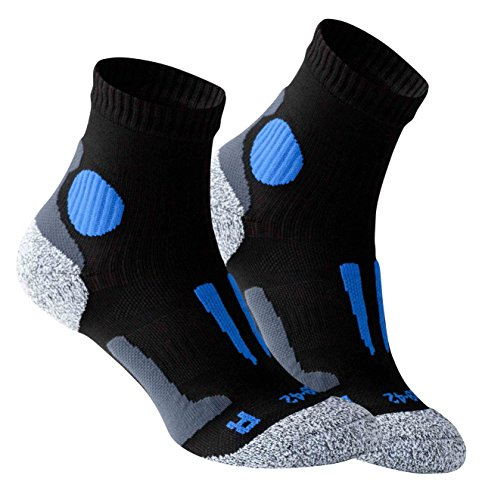 2 Paar Original VCA Performance Quarter - Laufsocken, 43/46, Schwarz-Blau -