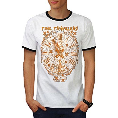 Zeit Reisende Jahrgang Clocking Herren S Ringer T-shirt | Wellcoda (Garage Zeit T-shirt)