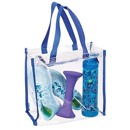 mDesign Sporttasche für Trainingsausrüstung, Kleidung, Accessoires - wasserfeste Umhängetasche - durchsichtig/blau