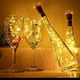 [9x20+12] LED Lichterkette für Flasche Innen Außen mit 12 Batterien Flaschenlichter Warmweiß Innen und Außen 2M Flaschenlichter Kork Lichterkette für Weihnachten Hochzeit Party