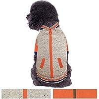 Blueberry Pet Warm Shepra Fleece Lined Baseball Winter Jacket Style Pullover Dog Jumper in Oatmeal Heather, Back Length 51cm