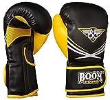 BOOM Prime Rex-Leder Boxhandschuhe 283g 340g 396g 16oz Kampftraining Kampf Boxsack Muay Thai Sparring Kampfsport Schlagen Fausthandschuh - Gelb, 10oz