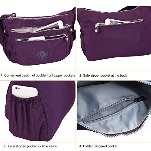 Vbiger le donne casuale multi tasca Borsa a tracolla impermeabile Viola 3