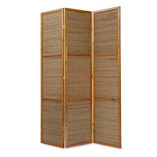 Homestyle4u 873, XL Paravent Raumteiler 3 teilig, Bambus Holz, Braun, Höhe 2 m