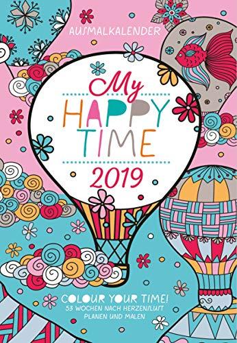 Ausmal-Timer Happy Time 310619 2019: Buchkalender - Terminplaner mit Wochenkalendarium und Motiven zum Ausmalen. Jede zweite Seite für Notizen. Leseband. Format 12 x 17 cm.