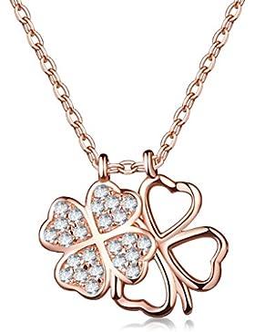 Unendlich U Elegant Doppel Vierblättrige Kleeblatts Damen Halskette 925 Sterling Silber Zirkonia Anhänger Verstellbare...