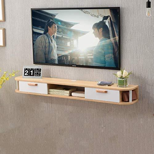 Holz-tv-ständer Möbel (JDH Wandbehang aus Massivem Holz Tv-Möbel Tv-Konsole Tv-Ständer Wandregal Schwimmregal Aufhängung Rack Set Top Box Router Ablage (Farbe: Braun), Holzfarbe)