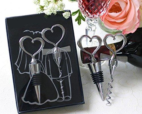 Disok–set vino raccordo di cuori in scatola da regalo con fiocco–set da vino per matrimonio cuori, baratos, dettagli e regali originali 00829online