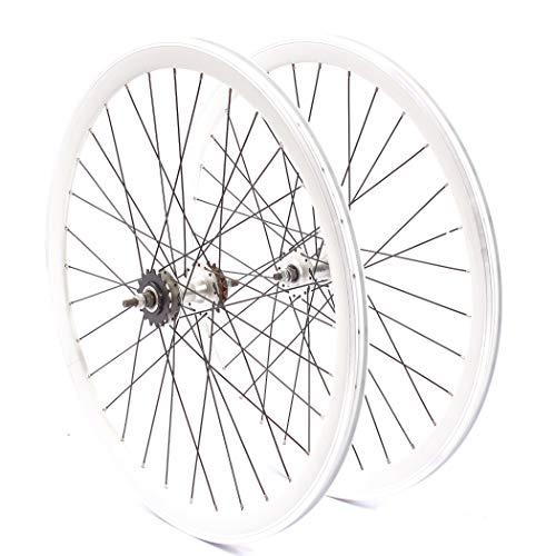 KHE Fixie Laufradsatz 700c Industriegelagert 40mm Hoch Dreifachkammerfelgen weiß mit Starr- und Freilaufritzel