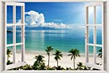 #9: 3D Depth Illusion Vinyl Wall Decal Sticker, Window Frame Style Home Décor Art Removable Wall Sticker, SIZE: 135 cms x 90 cms (4.5 feet x 3 feet) (Flat Water Palm Trees Ocean Beach Sea Seascape View) by FRIENDS OFFICE AUTOMATION. (Flatwater, 135 CM x 90 CM)
