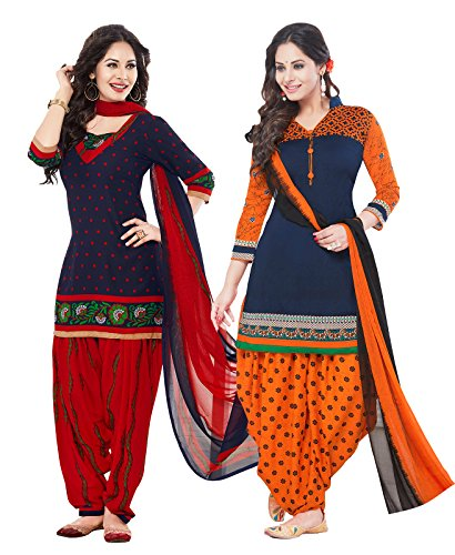 ishin Women\'s Synthetic Unstitched Salwar Suit With Dupatta Dress Material(Combodm-321_Multicolor Free Size)
