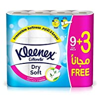 Kleenex Toilet Paper Dry Soft - Pack of 12 Tissue Rolls,  200 Sheets x 2 Ply