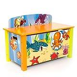 Homestyle4u 1119 Spielzeugtruhe Unterwasserwelt B x H x T: 66 cm x 50 cm x 39 cm aus Holz in Blau & bunten Meeresmotiven Spielzeugkiste Kinderzimmer