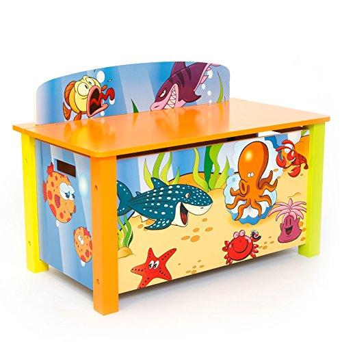 Homestyle4u 1119 Kinder Spielzeugtruhe Meer Fische, Spielzeugkiste mit Deckel klappbar, Aufbewahrungsbox, Holz Bunt (Hochglanz-aufbewahrungsbox)