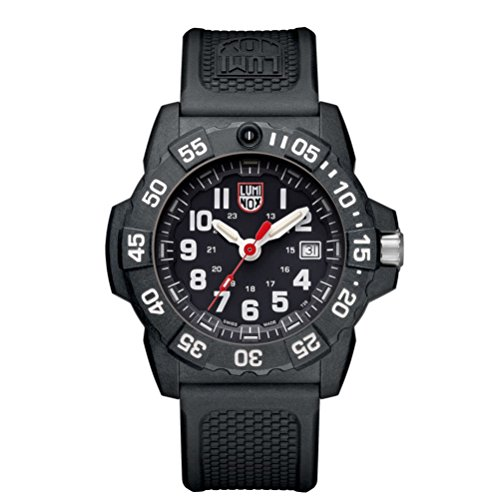 Luminox new NavySEAL carbon compound 3500 series Watch with carbon compound Case Black|White Dial and PU Black Strap XS.3501
