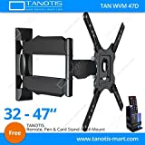 Tanotis 6 Way Swivel Tilt Tv Wall Mount For Lcd/Led Tv'S Upto 32' To 47' Inch For Flat Wall Or Corner Mounting With Vesa Upto 400 Mm Tan Wvm 47D + Free Tanotis Remote Stand Tan Acc Rms